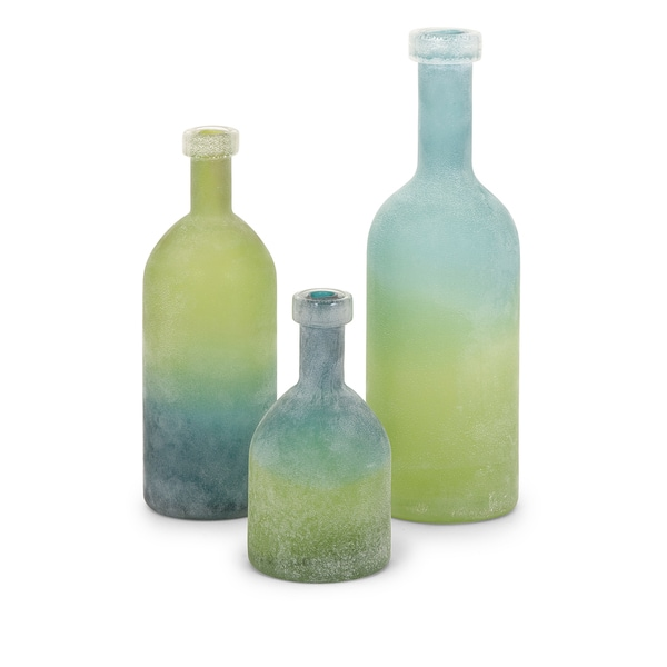 Alena Green and Blue Glass Bottles (Set of 3)