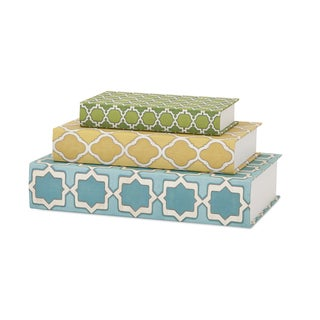Maines Geometric Print Book Boxes (Set of 3)