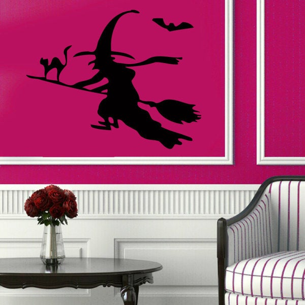 Witch on Broom Vinyl Sticker Wall Art