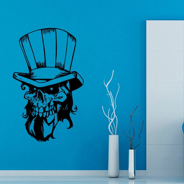 Skull Wearing Hat Vinyl Sticker Wall Art