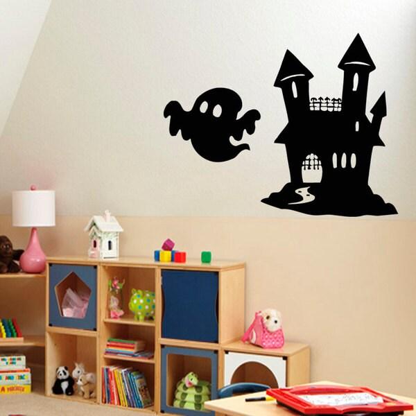 Cute Ghost and Castle Vinyl Sticker Wall Art 15436765