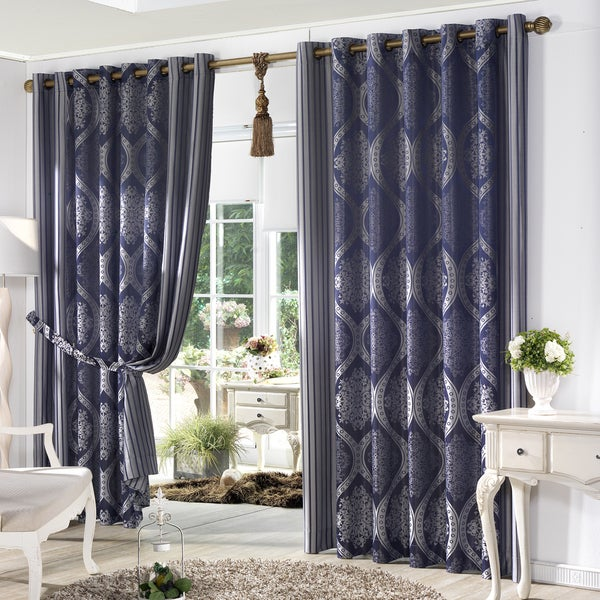"Aurora Home Classic Damask Jacquard Grommet Wide Curtain Pair In Navy 100"" (As Is Item)"