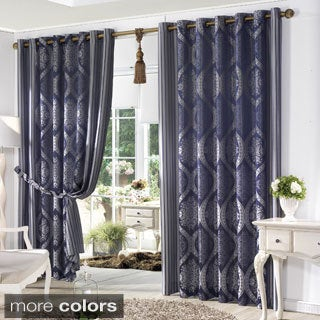 Lights Out Classic Damask Jacquard Grommet Wide Curtain Pair