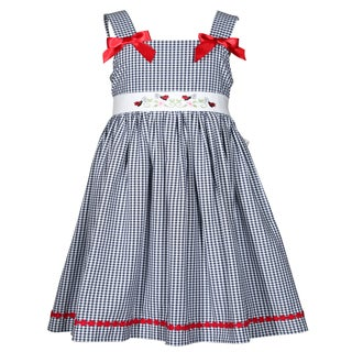 Treasure Box Kids Blue and White Gingham Ladybug Dress