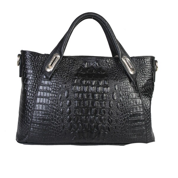 Mllecoco Genuine Leather Crocodile Textured Structured Handbag
