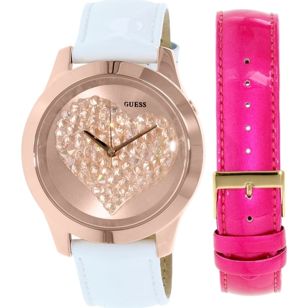 Guess Women's U0528L1 Rose-gold Leather Quartz Watch