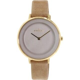 Skagen Women's Ditte SKW2215 Gold Leather Quartz Watch