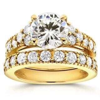 Annello 14k Yellow Gold Moissanite and 1 1/10ct TDW Antique Diamond Bridal Rings Set (G-H, I1-I2)