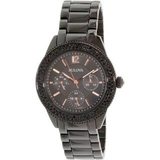 Bulova Women's Crystal 98N105 Black Stainless Steel Quartz Watch