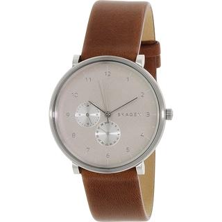 Skagen Men's SKW6168 Hald Multi-Function Grey Dial Brown Leather Watch