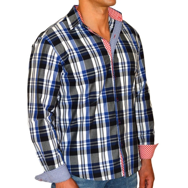 Giorgio Men's Blue Plaid America Button Front Slim Fit Sport Shirt