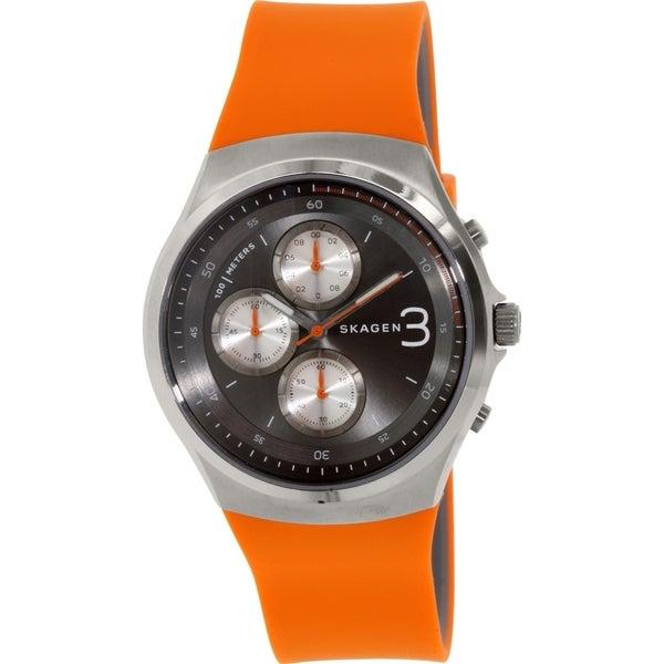 Skagen Men's Jannik SKW6156 Gunmetal Rubber Quartz Watch