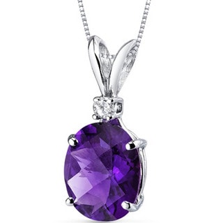 Oravo 14 Karat White Gold Oval Shape Gemstone Diamond Accent Pendant