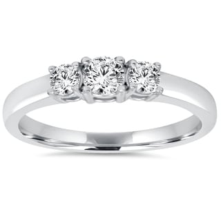 Bliss 14k White Gold 3/4ct TDW Diamond Three Stone Engagement Ring (J-K, I2-I3)