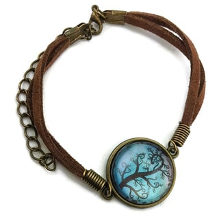Mama Designs Brown Leather Inspiring Eternal Tree Bracelet