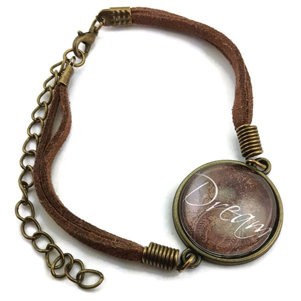 Mama Designs Brown Leather Inspiring Dream Bracelet
