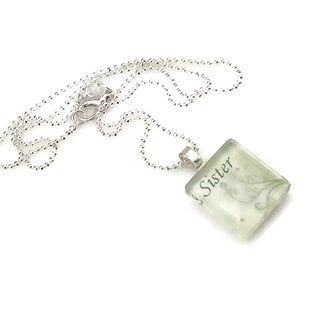 Mama Designs Sister Glass Tile Family Necklace