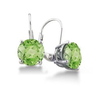 Sterling Silver Round Peridot Leverback Earrings