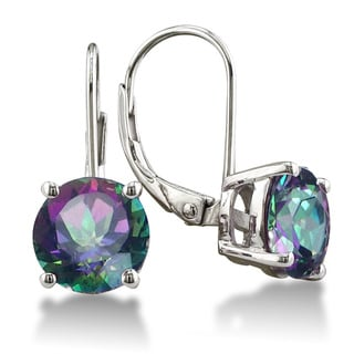 Sterling Silver Rainbow Amethyst Leverback Earrings