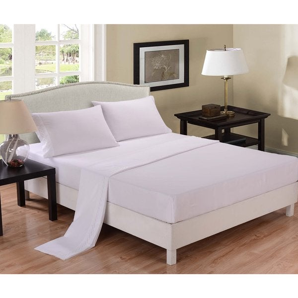 Honeymoon White Super Soft Wrinkle Free Queen Sheet Set