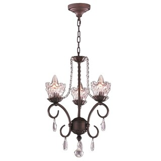 Gardenia 3-light Dark Bronze Finish Clear Crystal Traditional Candle Mini Chandelier