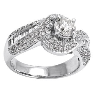 Beverly Hills Charm 14k White Gold 1 2/3ct TDW Diamond Halo Engagement Ring (H-I, SI2-I1)