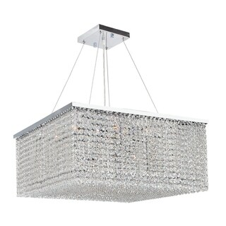 Prism 12-light Chrome Finish Clear Crystal Rainfall 20-inch Square Chandelier