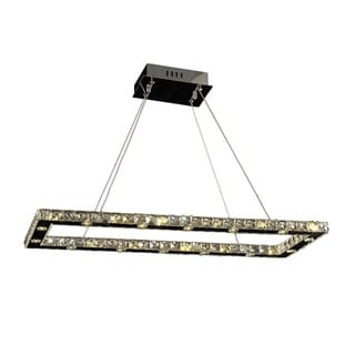 Galaxy 28-light LED Chrome Finish Clear Crystal Rectangle Modern Suspension Chandelier