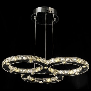Galaxy 27-light LED Chrome Finish and Clear Crystal Triple Ring Chandelier