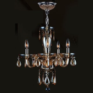 Gatsby Collection 5-light Chrome Finish and Amber Blown Glass Chandelier