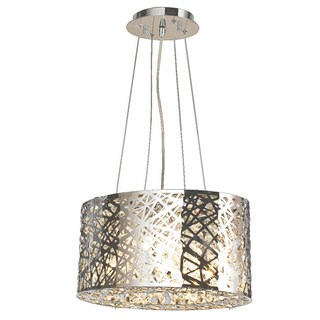 High Gloss 5-light LED Polished Chrome Finish and Clear Crystal 16-inch Round Suspension Chandelier