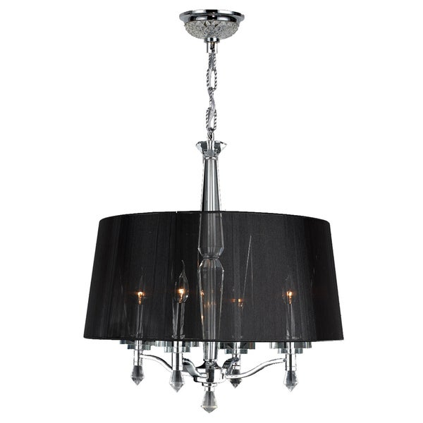 Gatsby Collection 4-light Chrome Finish and Clear Crystal Chandelier with Black String Shade
