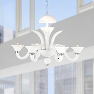 Murano Venetian Style 6-light Blown Glass in White Finish Chandelier