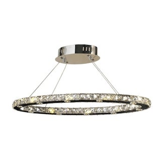 Galaxy 20-light LED Chrome Finish Clear Crystal Oval 28-inch Suspension Chandelier