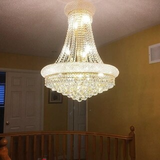 Empire Collection 14-light Gold Finish and Clear Crystal Chandelier