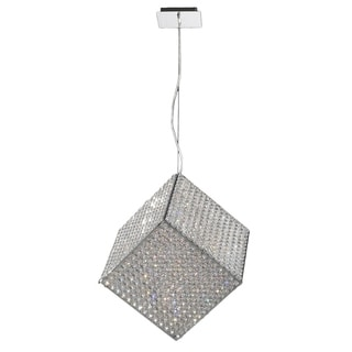Modern Geometric Cube Collection 13-light Halogen Chrome Finish Crystal Suspension Pendant Light