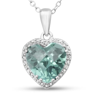 Sterling Silver Green Amethyst Diamond Accent Heart Necklace