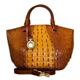Leatherbay Italian Leather Umbria Croc Print Handbag