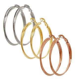 Alexa Starr Two-row Knife Edge Hoop Earrings (Set of 3 Pairs)