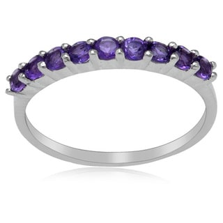 Sterling Silver Amethyst 9-stone Band