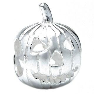 Queenberry Sterling Silver Jack-o-lantern Pumpkin Focal European Bead Charm