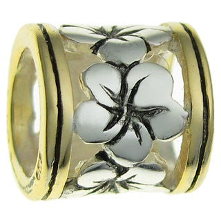 Queenberry 14k Goldplated Sterling Silver Frangipanni Flower European Bead Charm