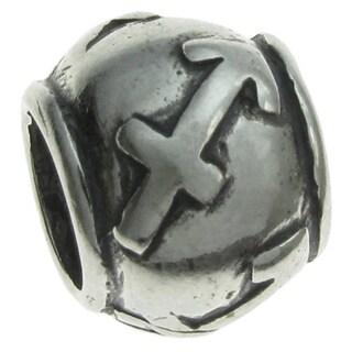 Queenberry Sterling Silver Round Zodiac Sagittarius European Bead Charm