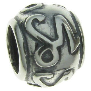 Queenberry Sterling Silver Round Zodiac Capricorn European Bead Charm