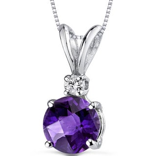 Oravo 14k White Gold Round-cut Gemstone Diamond Accent Pendant