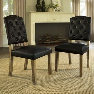 Dorel Living Rustic Brown Bonded Leather Dining Chairs (Set of 2)