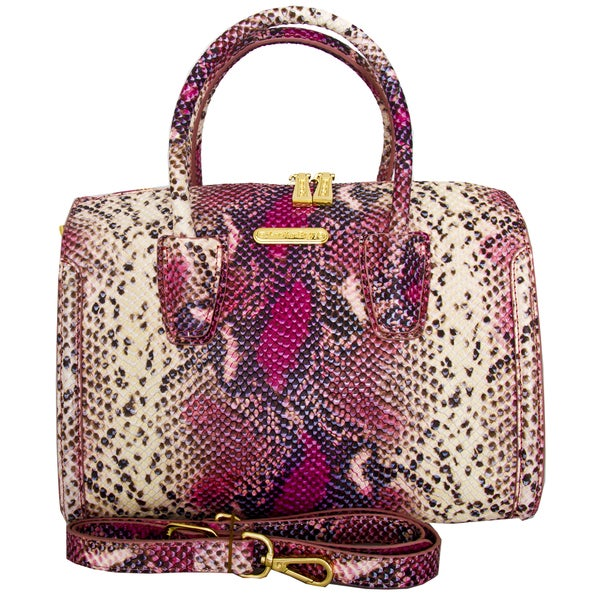 Leatherbay Italian Leather Aversa Snake Print Handbag