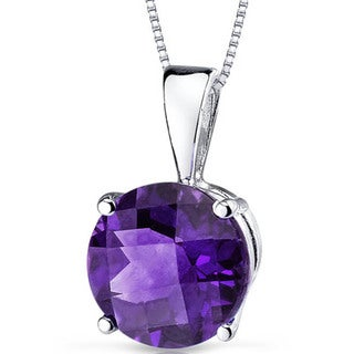 Oravo 14k White Gold Round-cut Gemstone Pendant
