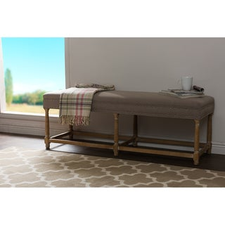 Jett French Inspired Beige Fabric Upholstered And Nail Heads Trimmed Bench
