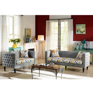 Lily French Inspired Grey Velvet And Calico Upholstered Loveseat And Sofa Set